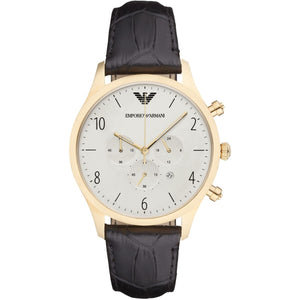 EMPORIO ARMANI Classic Chronograph White Dial Black Leather Men's Watch AR1892