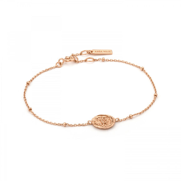 Ania Haie Coin Meddallion Bracelet Rose Gold B009-02r