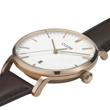 Load image into Gallery viewer, Cluse Aravis Gents Brown Leather Rose Gold White/ Dark Brown CW0101501002