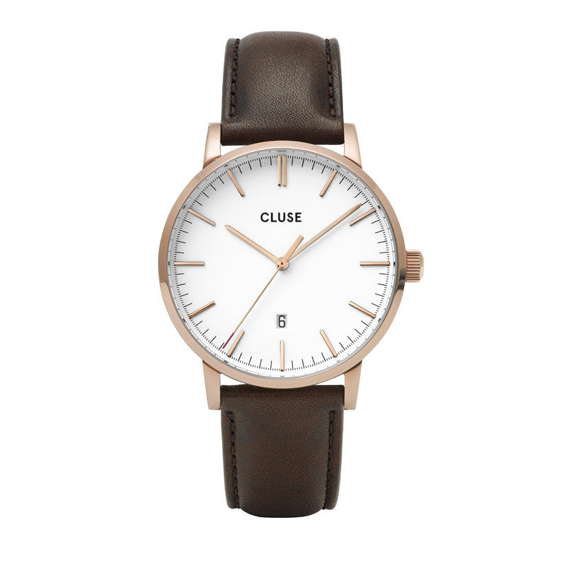 Cluse Aravis Gents Brown Leather Rose Gold White/ Dark Brown CW0101501002