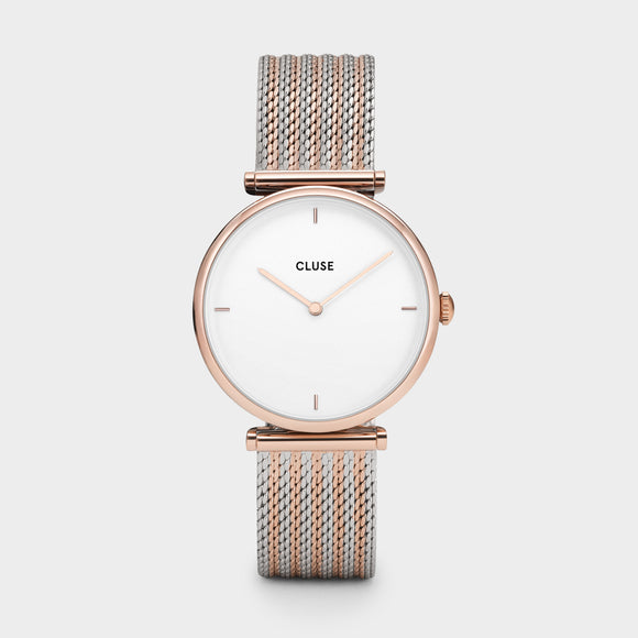 CLUSE TRIOMPHE ROSE GOLD BICOLOUR MESH CL61003