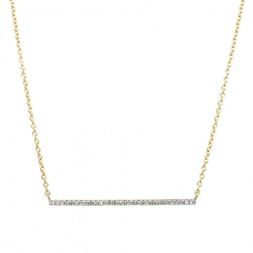 9ct Yellow Gold Diamond Bar Necklace