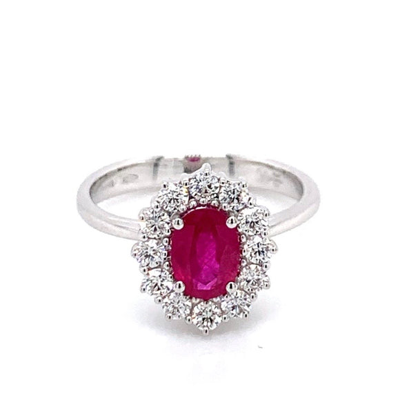 18ct White Gold Diamond and Burmese Ruby Ring
