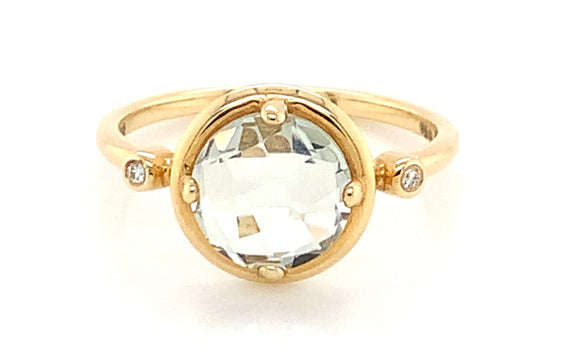 14ct Yellow Gold Green Amethyst and 0.18ct Diamond Ring
