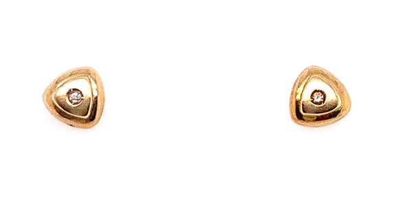 9ct Yellow Gold Stud Earrings With Diamond