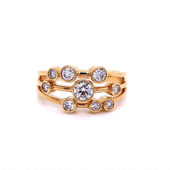 18ct Gold Scattered Diamond Triple Band