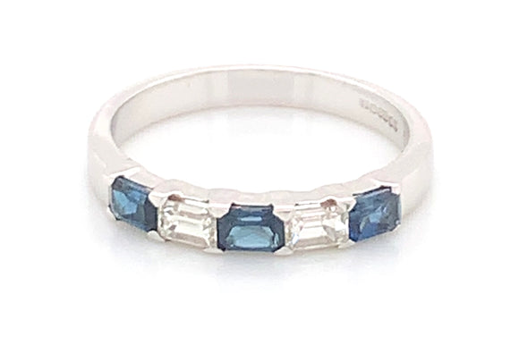 9ct White Gold Diamond And Sapphire Ring