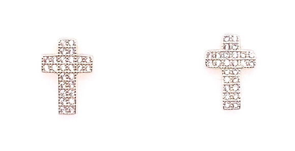 Newbridge Silver Cz Cross Earrings