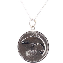 Load image into Gallery viewer, Tadgh Óg Solid Sterling Silver Salmon 10p Irish Coin Pendant
