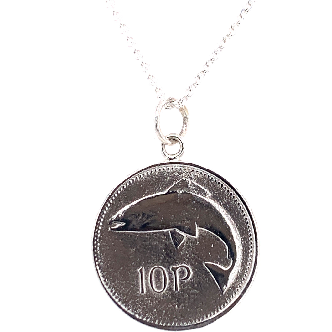 Tadgh Óg Solid Sterling Silver Salmon 10p Irish Coin Pendant