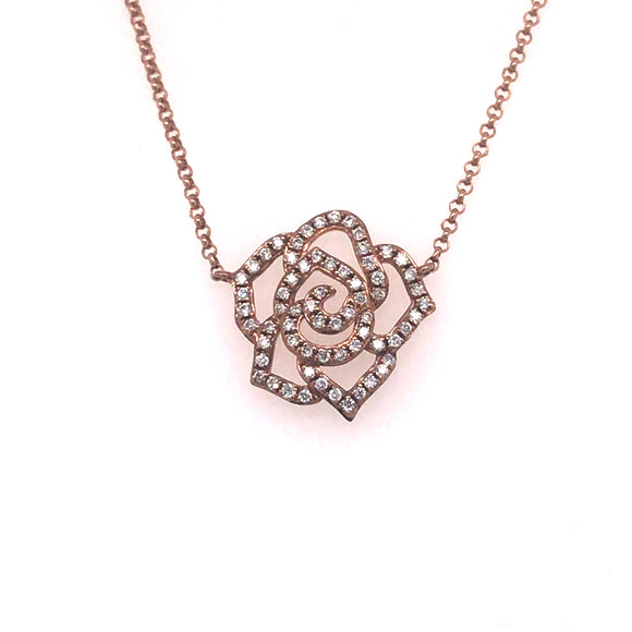9ct Rose Gold Diamond Flower Pendant