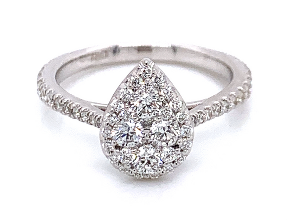 Pear Star Burst Halo .75ct Diamond White Gold Ring