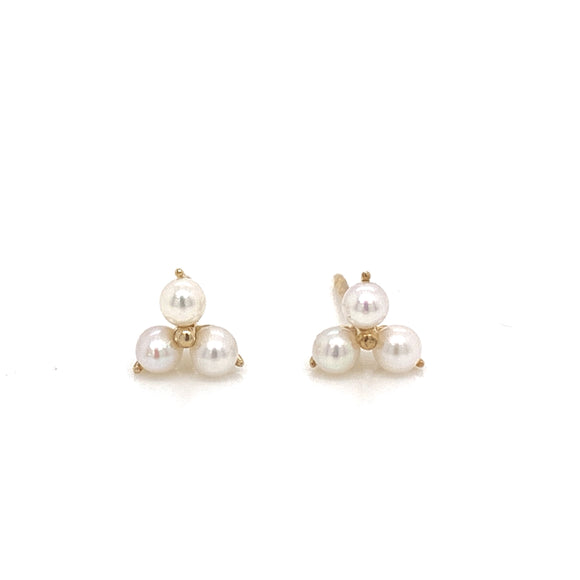 9ct Gold Pearl Trio Stud
