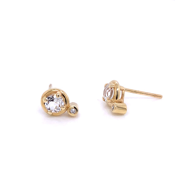 Anma 14ct Gold White Topaz & Diamond Earrings