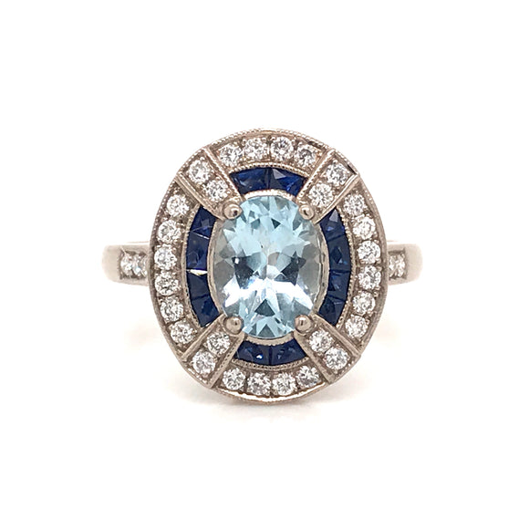 18ct White Gold Diamond Sapphire and Aquamarine Ring