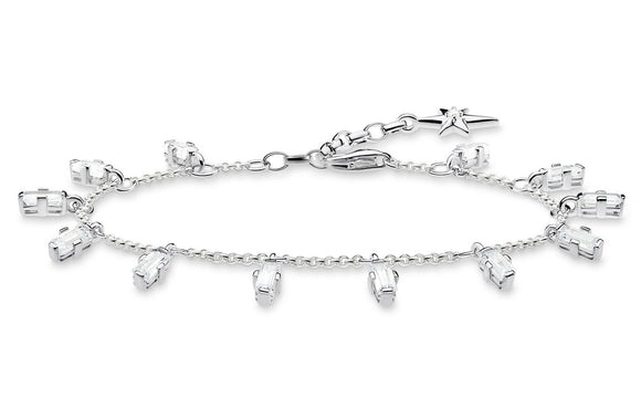 Thomas Sabo Silver Bracelet With Angular Baguette Cut Clear Stones