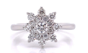 18ct White Gold Cluster Diamond Engagement Ring