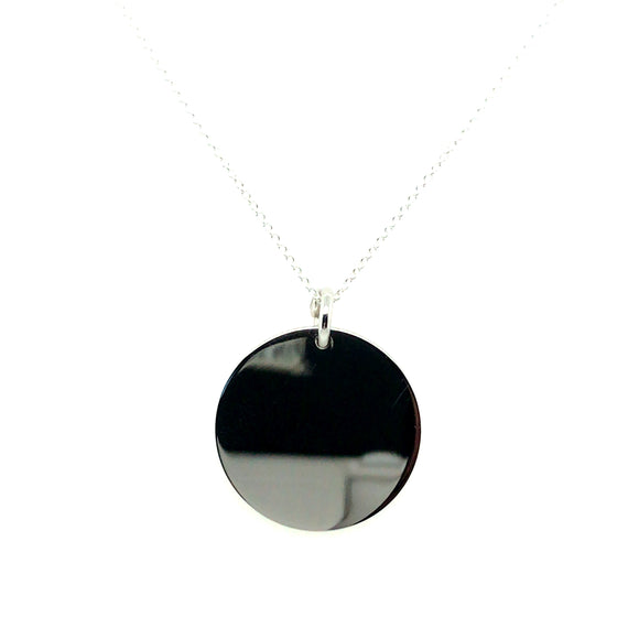 Sterling Silver Rhodium Plated Large Disc Pendant