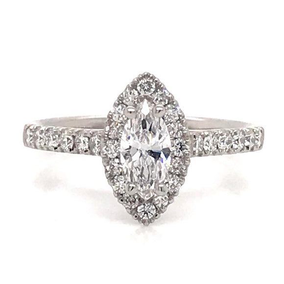 0.87ct Marquee  Diamond Engagement Ring