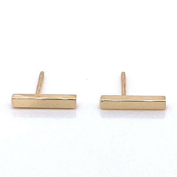Slightly Longer Small solid Gold Bar Earrings