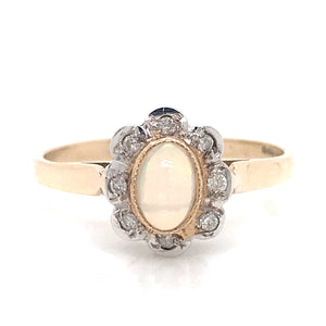 Opal and Diamond Flowering Ring