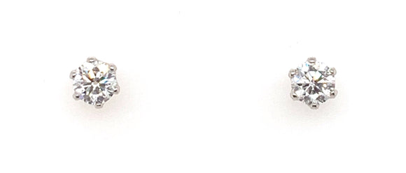 Platinum 1ct 6 Claw Diamond Stud Earrings