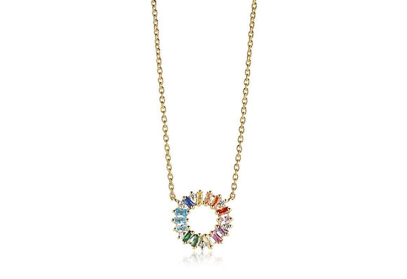 SIF JAKOBS ANTELLA CIRCOLO - 18K GOLD PLATED WITH MULTICOLOURED ZIRCONIA C0162-XCZ(YG)
