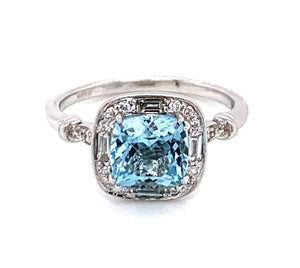 1.40ct Cushion Cut Aquamarine with Baguette and Round Brilliant Diamonds .25ct Vintage Style Halo with Side Detail