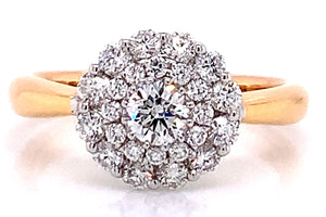 18ct Rose Gold Round Brilliant Double Halo 0.80ct Diamond Engagement Ring