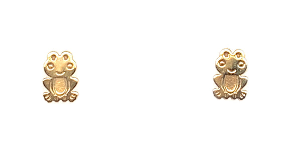 Sterling Silver with Gold Plating Frog Stud Earrings
