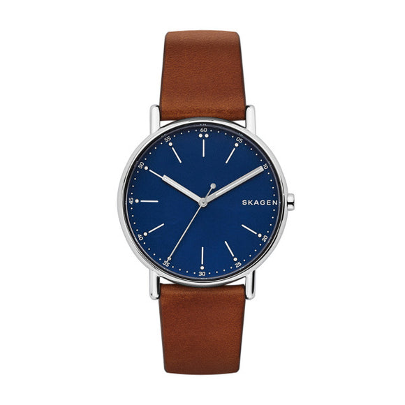 Skagen Signatur Brown Leather Strap Watch SKW6355