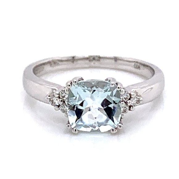 Cushion Cut Aquamarine with Side Diamond Trio