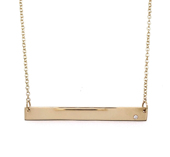 Tadgh Óg 45mm Balance Bar 9ct Yellow Gold with Diamond Pendant