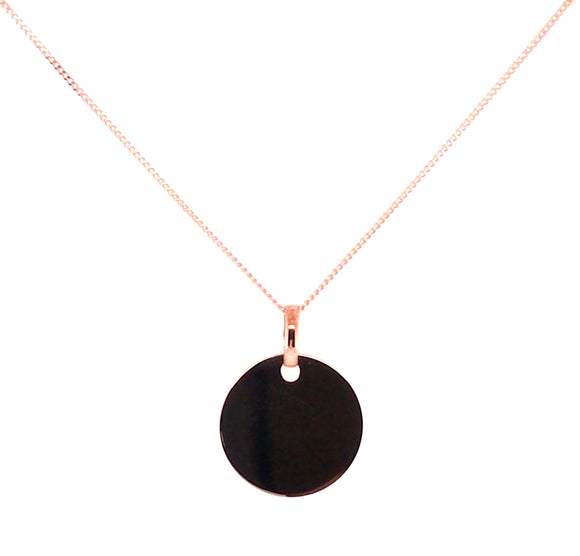 9ct Rose Gold 14mm Round Disc 14mm X 18mm Pendant