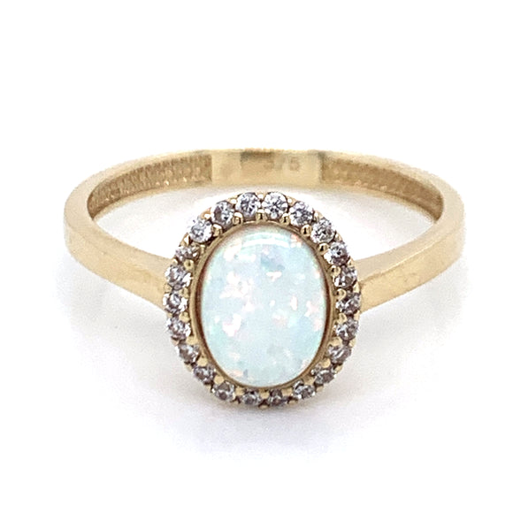 9ct Gold Opal CZ Ring