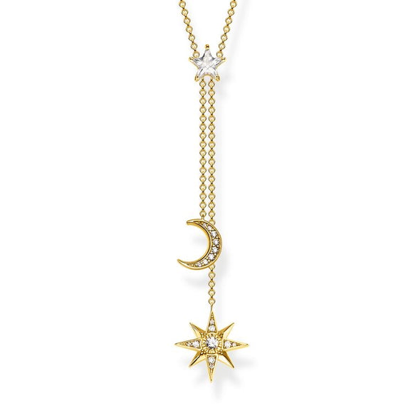 THOMAS SABO NECKLACE STAR & MOON GOLD KE1900-414-14