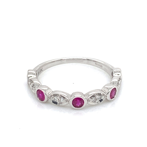 9ct White Gold Ruby & Diamond band