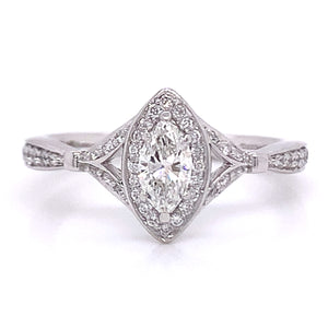 Platinum Marquise Halo 0.50ct