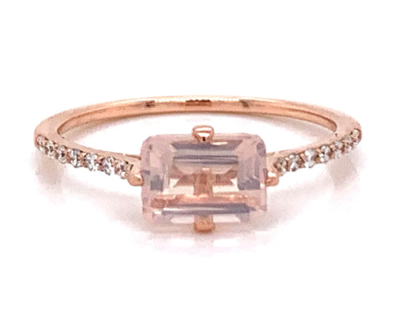 1ct Rose Quartz Emerald Cut and Diamond Ring in 9ct Rose Gold
