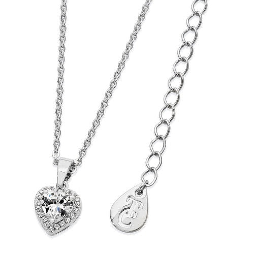 Tipperary Crystal Silver Diamante Heart Drop Pendant 109896