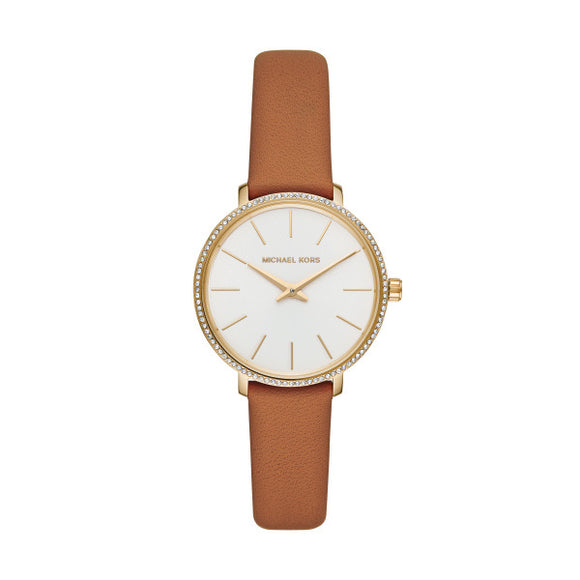 Michael Kors Pyper Mini Brown Leather Strap Ladies Watch MK2801