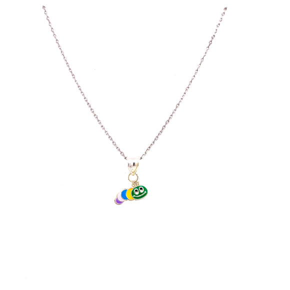 Sterling Silver Colourful Caterpillar Pendant