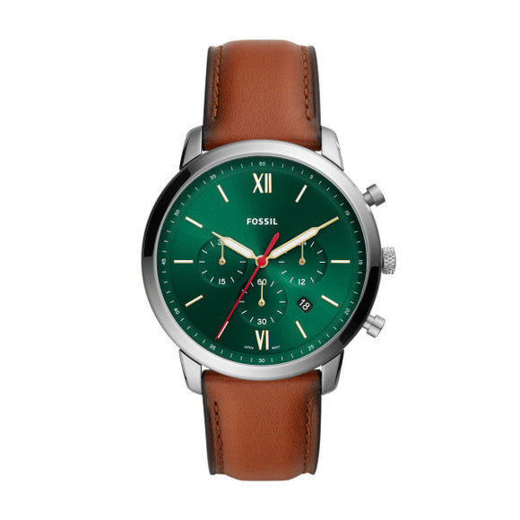 Fossil Gents Neutra Chrono Brown Leather Strap And Green Face Watch
