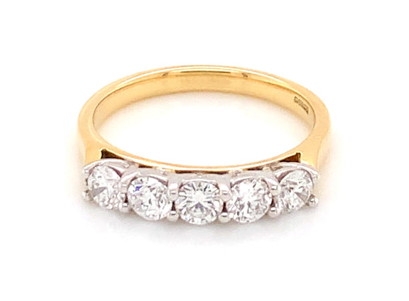 18ct Yellow Gold 0.80ct Five Stone Diamond Eternity Ring