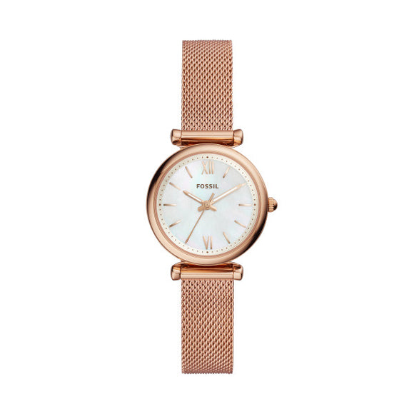 Fossil Carlie Mini Rose Gold Stainless Steel Strap Ladies Watch ES4433