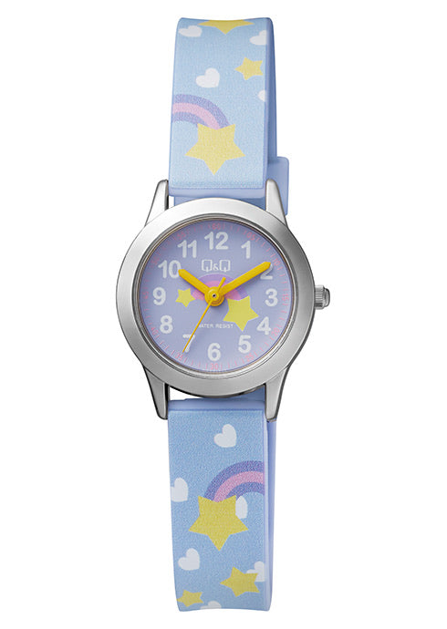 Q & Q Girls Purple Strap With Rainbows & Stars Watch