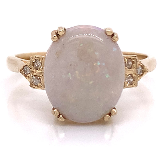 Opal Art Deco Side Setting