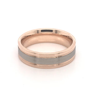 18ct Rose Gold and Palladium 950 Gents band