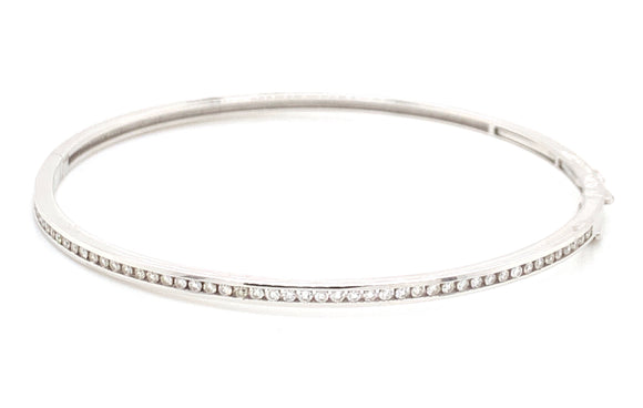 9ct White Gold And Diamond Bangle