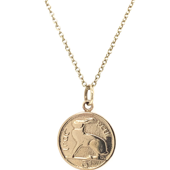 Tadgh Óg Solid 9ct Gold Hare 3 pence Irish Coin Pendant